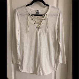 ❤️ 3/20 old navy white 3/4 length sleeves top